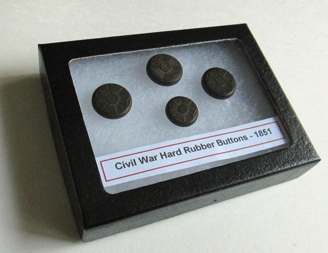 Civil War Maltese Cross, Gutta-Percha Buttons, dated