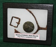 Revolutionary War grouping of a Spur, buckle, and button, dug in SC