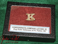 """Confederate Kepi Company Letter """"K"""" Insignia, dug at Fort Fisher, NC  (SOLD)"""