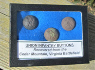 "Three Infantry ""I"" buttons from the same coat, Cedar Mountain battlefield"