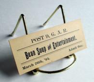 Ticket for GAR Post in Gettysburg