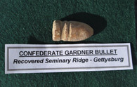Confederate bullet recovered on Seminary Ridge, Gettysburg (SOLD,BS)
