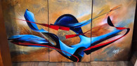 Whirling Dervish by Michael Goldzweig. Triptych - Acrylic on canvas.