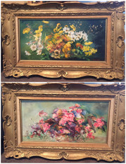 Pair of Florals by Listed Artist, Kitty  Brandfield (1910-1999)