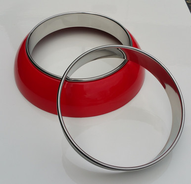 Pictured here is a display merc style frenching ring painted red and one set of our NEW stainless Inner trim rings.