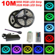 10M SMD RGB 3528 5050 Waterproof 300 LED Strip Light 44 Key Remote 12V Power Kit