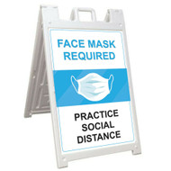 Sidewalk Signicade Deluxe Face Mask Required Practice Social Distance 24x36 in
