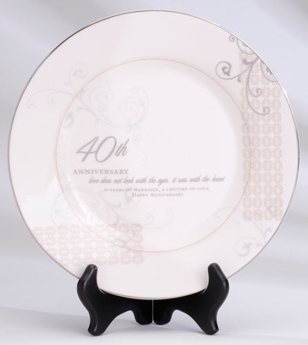 "40th Anniversary Commemorative Plate with Stand (9"")"