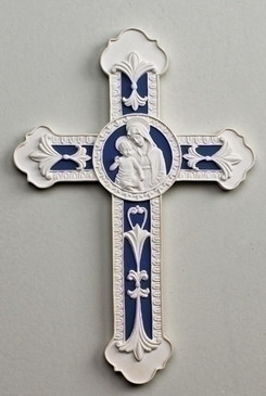 "Wall Cross with Madonna and Child in Center (9"")"