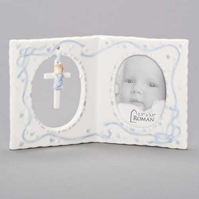 "Baby Boy's Baptism Photo Frame with Cross (4"")"