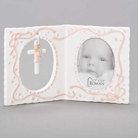 "Baby Girl's Baptism Photo Frame with Cross (4"")"