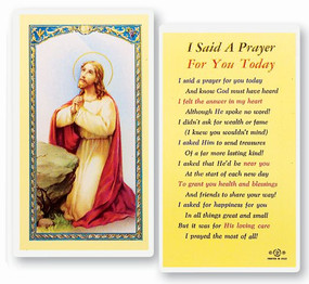 I Said a Prayer for You Today Laminated Holy Card