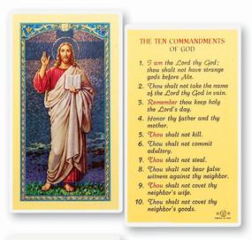 Ten Commandments of God Laminated Holy Card