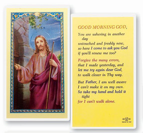 Good Morning God Laminated Holy Card