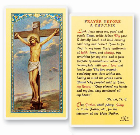 Prayer Before A Crucifix Laminated Holy Card