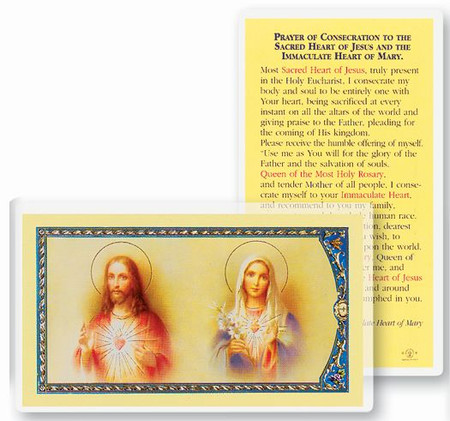 Prayer of Consecration to the Sacred Heart of Jesus And The Immaculate Heart of Mary Laminated Holy Card