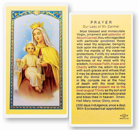 Our Lady of Mount Carmel Prayer Laminated Holy Card