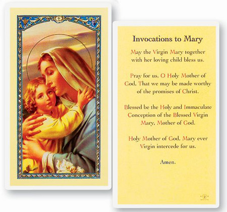 Invocation to Mary Laminated Holy Card