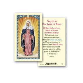 Our Lady of Tears Prayer Laminated Holy Card