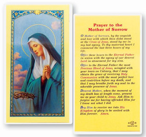 Mother of Sorrow Prayer Laminated Holy Card