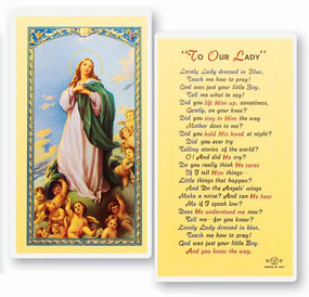 Lovely Lady Dressed in Blue Laminated Holy Card