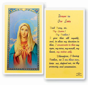 Immaculate Heart of Mary Prayer Laminated Holy Card