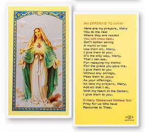 Offering to Mary Laminated Holy Card