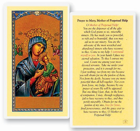 Mother of Perpetual Help Prayer Laminated Holy Card