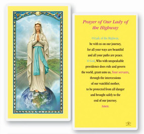 Our Lady of the Highway Prayer Laminated Holy Card