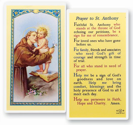 St. Anthony Prayer Laminated Holy Card