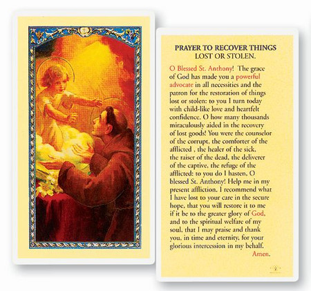 St. Anthony Prayer to Recover Lost or Stolen Things Laminated Holy Card