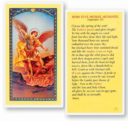 St. Michael the Archangel Hymn Laminated Holy Card