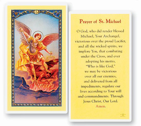 St. Michael the Archangel Prayer Laminated Holy Card