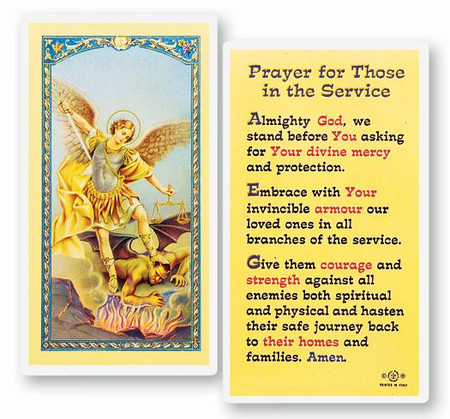 St. Michael the Archangel - Prayer for Those in the Service - Laminated Holy Card