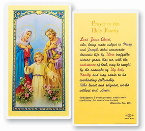 Holy Family Prayer Laminated Holy Card