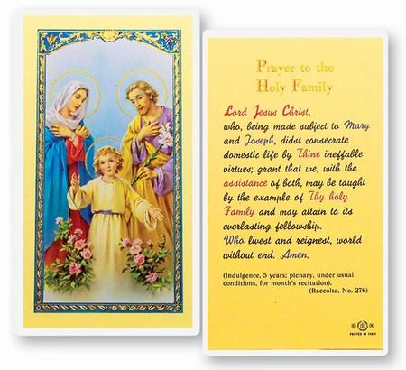 Holy Family Prayer Laminated Holy Card