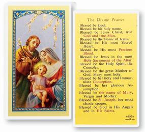 Divine Praises Laminated Holy Card
