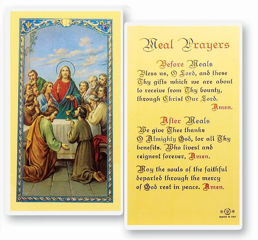Meal Prayers (Before & After Meals) Laminated Holy Card