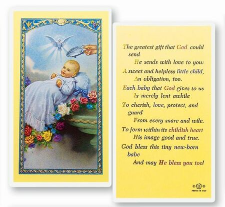 Baby's Baptismal Laminated Holy Card