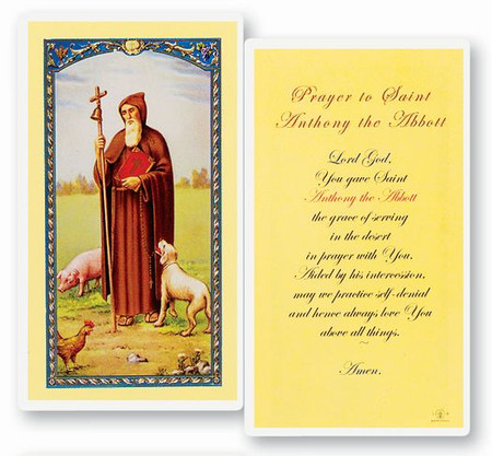 St. Anthony Abbott Prayer Laminated Holy Card