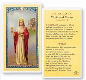St. Barbara Virgin and Martyr Laminated Holy Card
