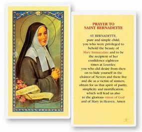 St. Bernadette Prayer Laminated Holy Card