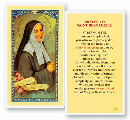 St. Bernadette Prayer Laminated Holy Card