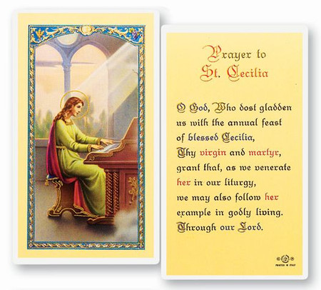 St. Cecilia Prayer Laminated Holy Card