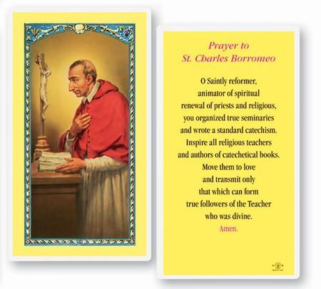 St. Charles Borromeo Laminated Holy Card
