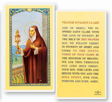 St. Clare Prayer Laminated Holy Card