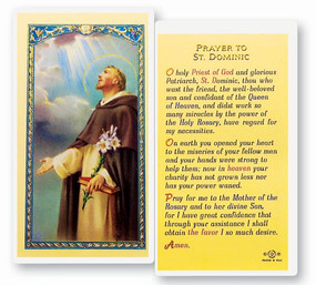 St. Dominic Prayer Laminated Holy Card