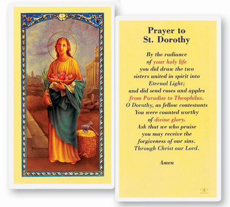 St. Dorothy Prayer Laminated Holy Card