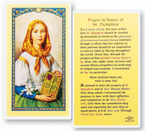 St. Dymphna Prayer Laminated Holy Card
