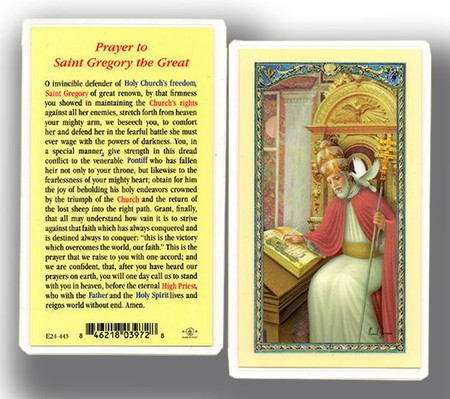 St. Gregory the Great Prayer Laminated Holy Card